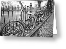 Bicycles Parked At Fence On Street, Netherlands Greeting Card