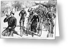 Bicyclist Meeting, 1884 Greeting Card