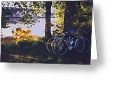 Bicyles By The Lake  Greeting Card