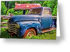 Big Blue Chevy At The Farm Greeting Card