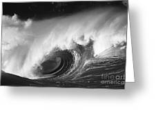 Big Breaking Wave - Bw Greeting Card