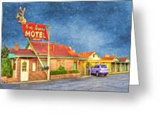 Big Bunny Motel Greeting Card by Juli Scalzi