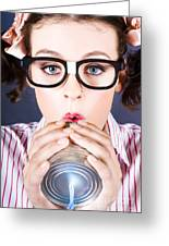 Big Business Kid Making Phone Call With Tin Cans Greeting Card