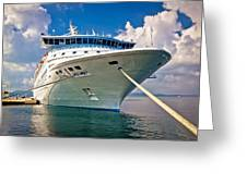 Big Docked Cruise Ship View Greeting Card