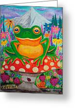 Big Green Frog On Red Mushroom Greeting Card