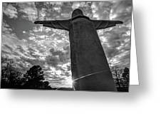 Big Jesus - Christ Of The Ozarks In Black And White Greeting Card