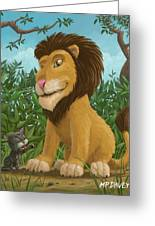 Big Lion Small Cat Greeting Card
