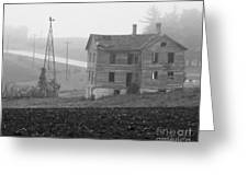 Big Old House In Fog - Bw Greeting Card