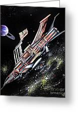 Big, Old Space Shuttle Of Dead Civilization Greeting Card