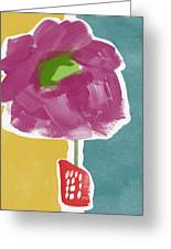 Big Purple Flower In A Small Vase- Art By Linda Woods Greeting Card