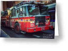 Big Red Engine 24 - Fdny - Firefighters Of New York Greeting Card