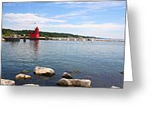 Big Red Light On The Lake Greeting Card