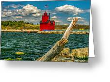 Big Red Lighthouse In Michigan Greeting Card