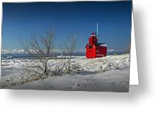 Big Red Lighthouse In Winter Greeting Card