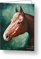 Big Red Snip    Horse Painting Greeting Card