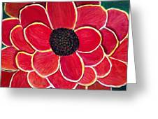 Big Red Zinnia Flower Greeting Card