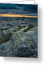 Big Rocks And Storm Clouds Greeting Card