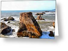 Big Rocks In Grey Water Painting Greeting Card