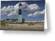 Big Sable Lighthouse Under Cloudy Blue Skies Greeting Card