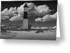 Big Sable Lighthouse Under Cloudy Skies Greeting Card