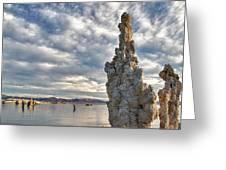 Big Sky And Tufa, Mono Lake, California Greeting Card