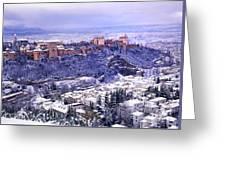 Big Snow In The Alhambra Granada  Greeting Card
