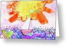 Big Sun And Sailboat Greeting Card