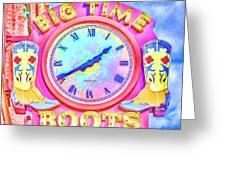 Big Time Boots - Nashville Hot Pink Greeting Card