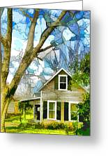 Big Tree Standing Tall In The Front Yard Greeting Card