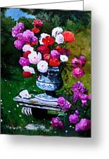 Big Vase With Peonies Greeting Card