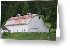 Big White Old Barn With Rusty Roof  Washington State Greeting Card