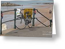 Bike Against Railings Greeting Card