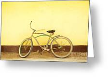 Bike And Yellow Wall Greeting Card