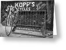 Bike At Kopp's Cycles Shop In Princeton Greeting Card