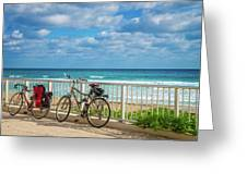 Bike Break At The Beach Greeting Card