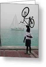 Bike Head In Key West Florida Greeting Card