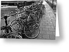 Bike Parking -- Amsterdam In November Bw Greeting Card