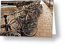Bike Parking -- Amsterdam In November Sepia Greeting Card