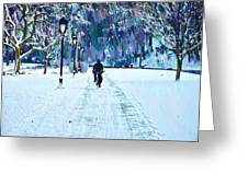 Bike Riding In The Snow Greeting Card by Bill Cannon
