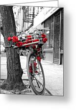 Bike With Red Roses Greeting Card