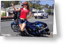 Biker Girl. Model Sofia Metal Queen Greeting Card