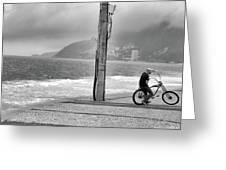 Biker In Ipanema Greeting Card