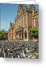 Bikes In Front Of Dutch University Greeting Card