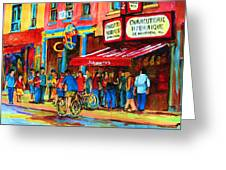 Biking Past The Deli Greeting Card