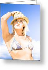 Bikini Lady Against Blue Sky Background Greeting Card