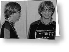 Bill Gates Mug Shot Horizontal Black And White Greeting Card