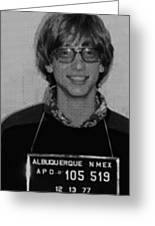 Bill Gates Mug Shot Vertical Black And White Greeting Card