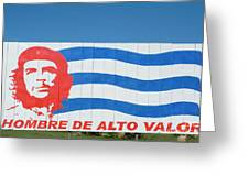 Billboard With The Iconic Che Guevara Portrait And National Cuban Flag Greeting Card