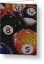 Billiard Ball Bottle Cap Mosaic Greeting Card