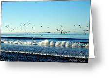 Billowing White Waves And Seagulls Greeting Card